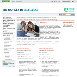 Assessment for learning - Research summaries