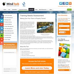 Training Needs Assessment (TNA) - Team Management Training from MindTools.com
