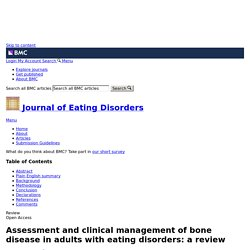 Assessment and clinical management of bone disease in adults with eating disorders: a review