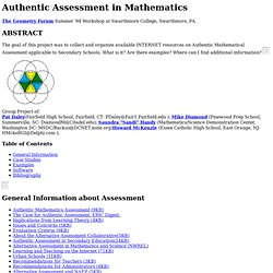 Authentic Assessment in Mathematics Home Page