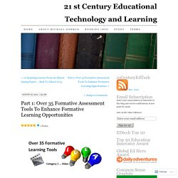 Part 1: Over 35 Formative Assessment Tools To Enhance Formative Learning Opportunities