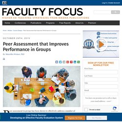 Peer Assessment that Improves Performance in Groups