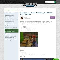 Assessment Tools (Cameras, Portfolio, Book & Quill) – Minecraft: Education Edition Support