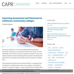 Improving Assessment and Placement at California's Community Colleges
