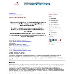 Lenguaje - Assessment Practices in the English and French Component of a Foreign Languages Teacher Education Program