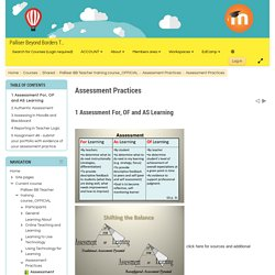Assessment Practices: Assessment For, OF and AS Learning