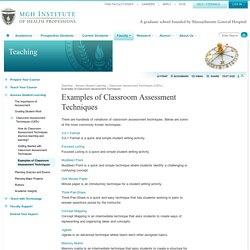 Examples of Classroom Assessment Techniques - Faculty Compass - MGH Institute of Health Professions
