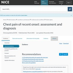 Chest pain of recent onset: assessment and diagnosis