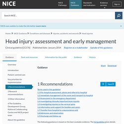 Head injury: assessment and early management