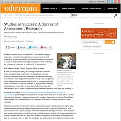 Studies in Success: A Survey of Assessment Research
