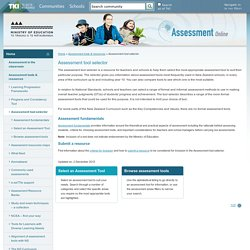Assessment tool selector / Assessment tools & resources / Home