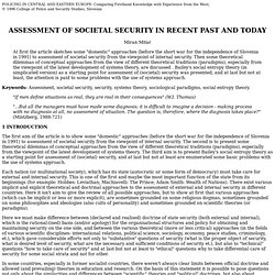 ASSESSMENT OF SOCIETAL SECURITY IN RECENT PAST AND TODAY