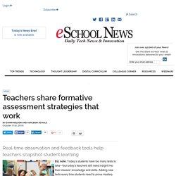 Teachers share formative assessment strategies that work