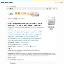EFSA 18/07/17 Safety assessment of the substance dimethyl carbonate for use in food contact materials