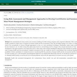 Recycling 2016, 1(3), 328-342; Using Risk Assessment and Management Approaches to Develop Cost-Effective and Sustainable Mine Waste Management Strategies