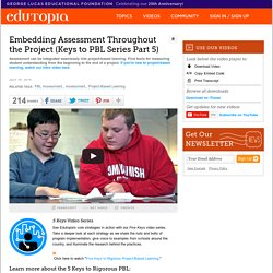 Embedding Assessment Throughout the Project (Keys to PBL Series Part 5)