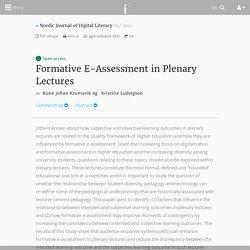 Formative E-Assessment in Plenary Lectures - Nr 01 - 2012 - Nordic Journal of Digital Literacy - Idunn - tidsskrifter på nett