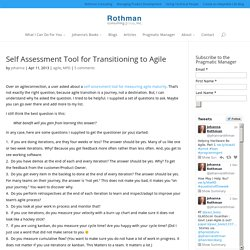 Self Assessment Tool for Transitioning to Agile