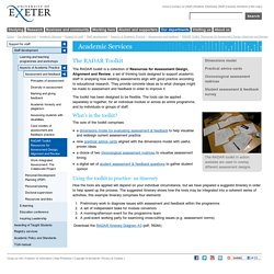 RADAR Toolkit: Resources for Assessment Design, Alignment and Review - Support for students and staff - University of Exeter