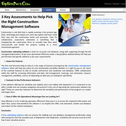 3 Key Assessments to Help Pick the Right Construction Management Software