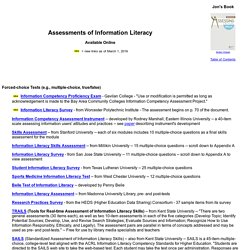 Assessments of Information Literacy available online (Information Literacy Assessments)