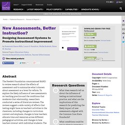 New Assessments, Better Instruction? Designing Assessment Systems to Promote Instructional Improvement
