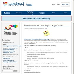 Assessments for Learning in Large Classes
