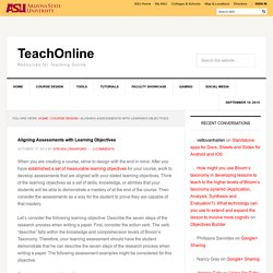 Aligning Assessments with Learning Objectives - TeachOnline