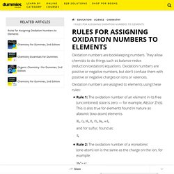 Rules for Assigning Oxidation Numbers to Elements - dummies