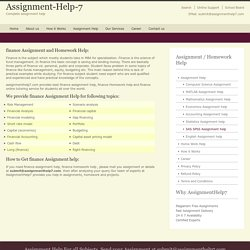 Finance homework Help - assignmenthelp7