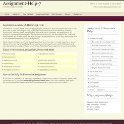 Online Economics Help - AssignmentHelp7