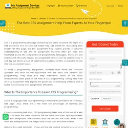 Get the finest CSS Assignment Help in Australia