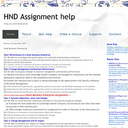 HND Assignment help: Small Business Enterprise