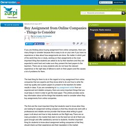 Buy Assignment from Online Companies - Things to Consider