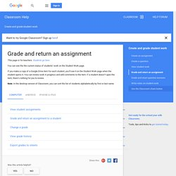 Grade and return an assignment - Computer - Classroom Help