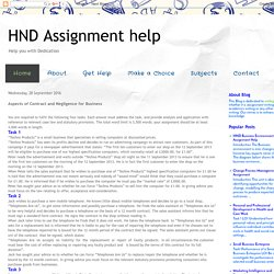 HND Assignment help: Aspects of Contract and Negligence for Business