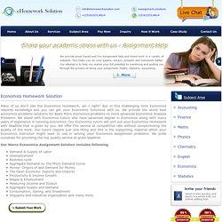 Economics Assignment Help- Ehomeworksolution