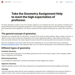 Take the Geometry Assignment Help to meet the high expectation of professor. — Teletype