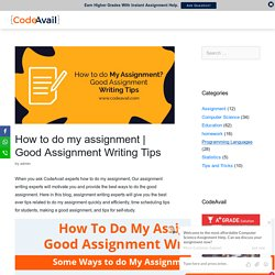 Good Assignment Writing Tips