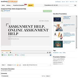 Assignment Help, Online Assignment Help