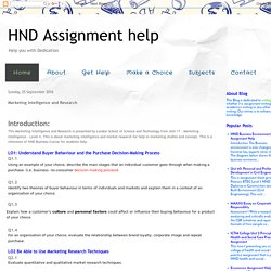 HND Assignment help: Marketing Intelligence and Research