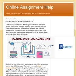 Online Assignment Help: MATHEMATICS HOMEWORK HELP