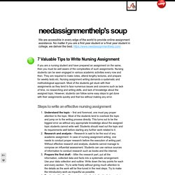 7 Valuable Tips to Write Nursing Assignment - needassignmenthelp's soup