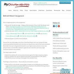 BUS 624 Week 5 Assignment - My Online Homework Helper
