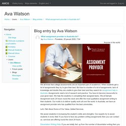 AMOS: Ava Watson: What assignment provider in Australia do?