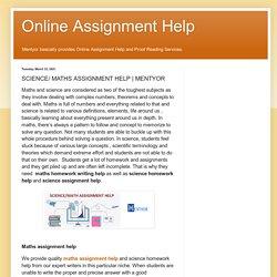 Online Assignment Help: SCIENCE/ MATHS ASSIGNMENT HELP