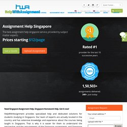 Singapore Economics Help Online Has The Answer To Every Assignment