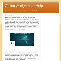 Online Assignment Help: STATISTICS HOMEWORK HELP FOR STUDENTS