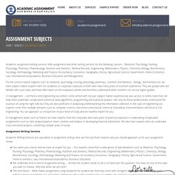 Assignment subjects - Academic Assignment
