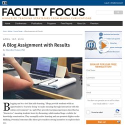 A Blog Assignment with Results - Faculty Focus
